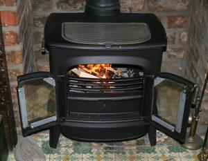 fireplace, wood burning stove, flame